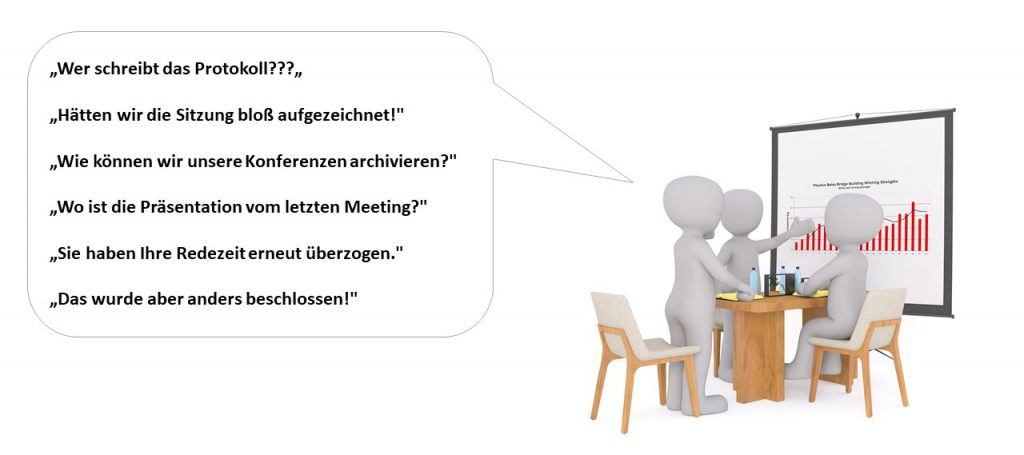 Comic Illustration von Personen die über die diskutieren, warum ein Meeting aufgezeichnet werden soll.